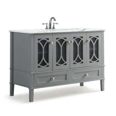 Paige 48 in. W x 21.5 in. D Bath Vanity in Warm Grey with Marble Extra Thick Vanity Top in White with White Basin