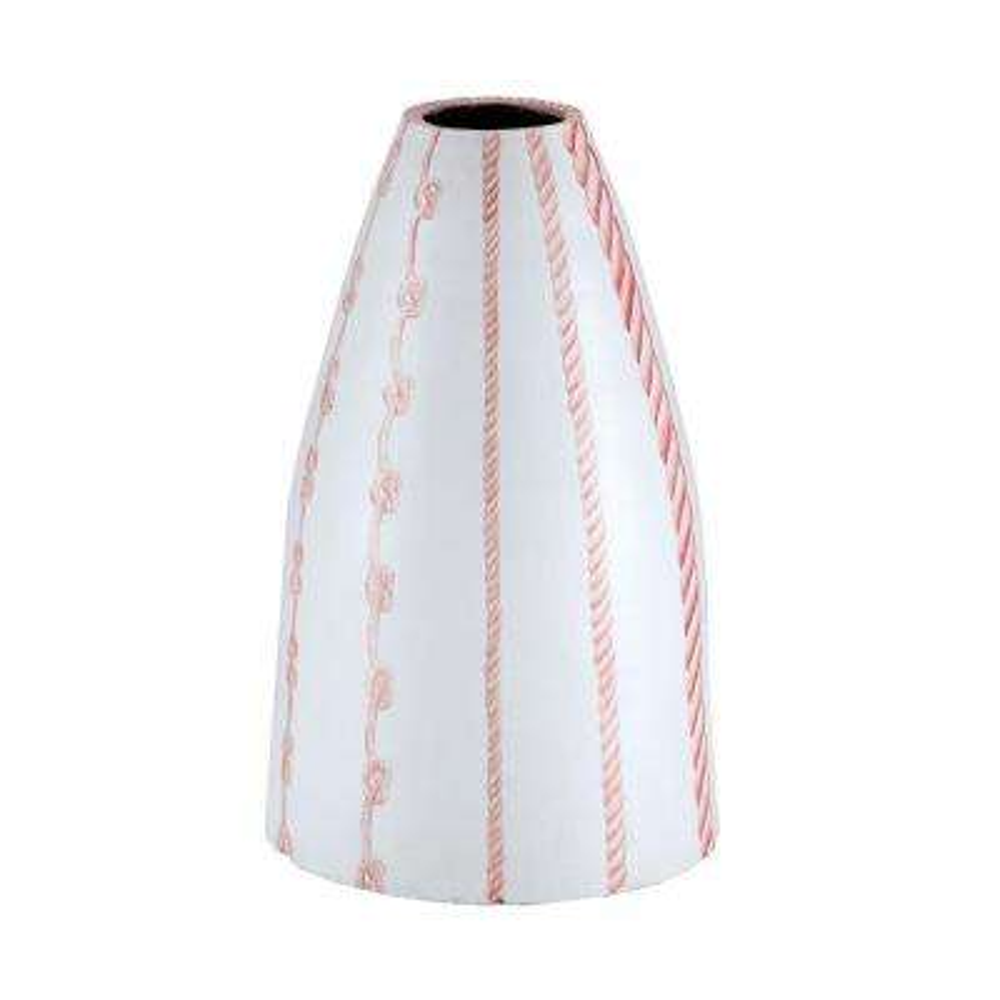 Ropes 22 in. Terracotta Decorative Vase in Marsala and White