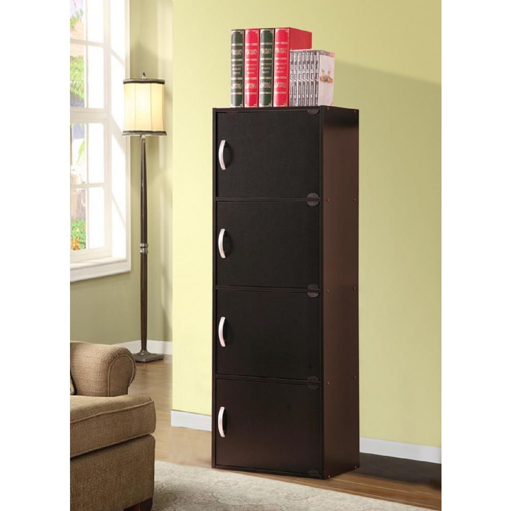 hodedah 4 shelf 47 in h black bookcase with doors hid4 black the home depot. Black Bedroom Furniture Sets. Home Design Ideas