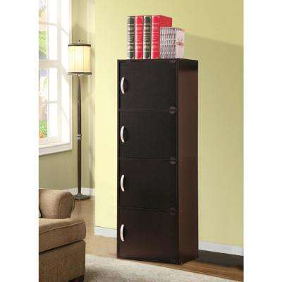 4-Shelf, 47 in. H Black Bookcase with Doors