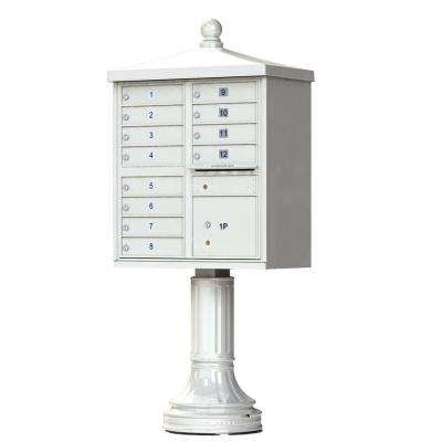 12 Mailboxes 1 Parcel Locker 1 Outgoing Pedestal Mount Cluster Box Unit