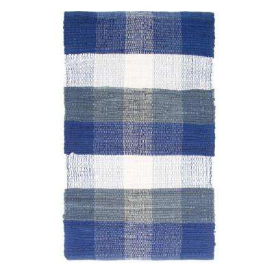 Chindi Plaid Navy 1 ft. 9 in. x 2 ft. 10 in. Area Rug
