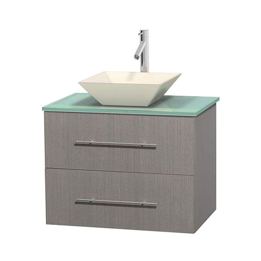 Wyndham Collection Centra 30 in. Vanity in Gray Oak with Glass Vanity Top in Green and Bone Porcelain Sink