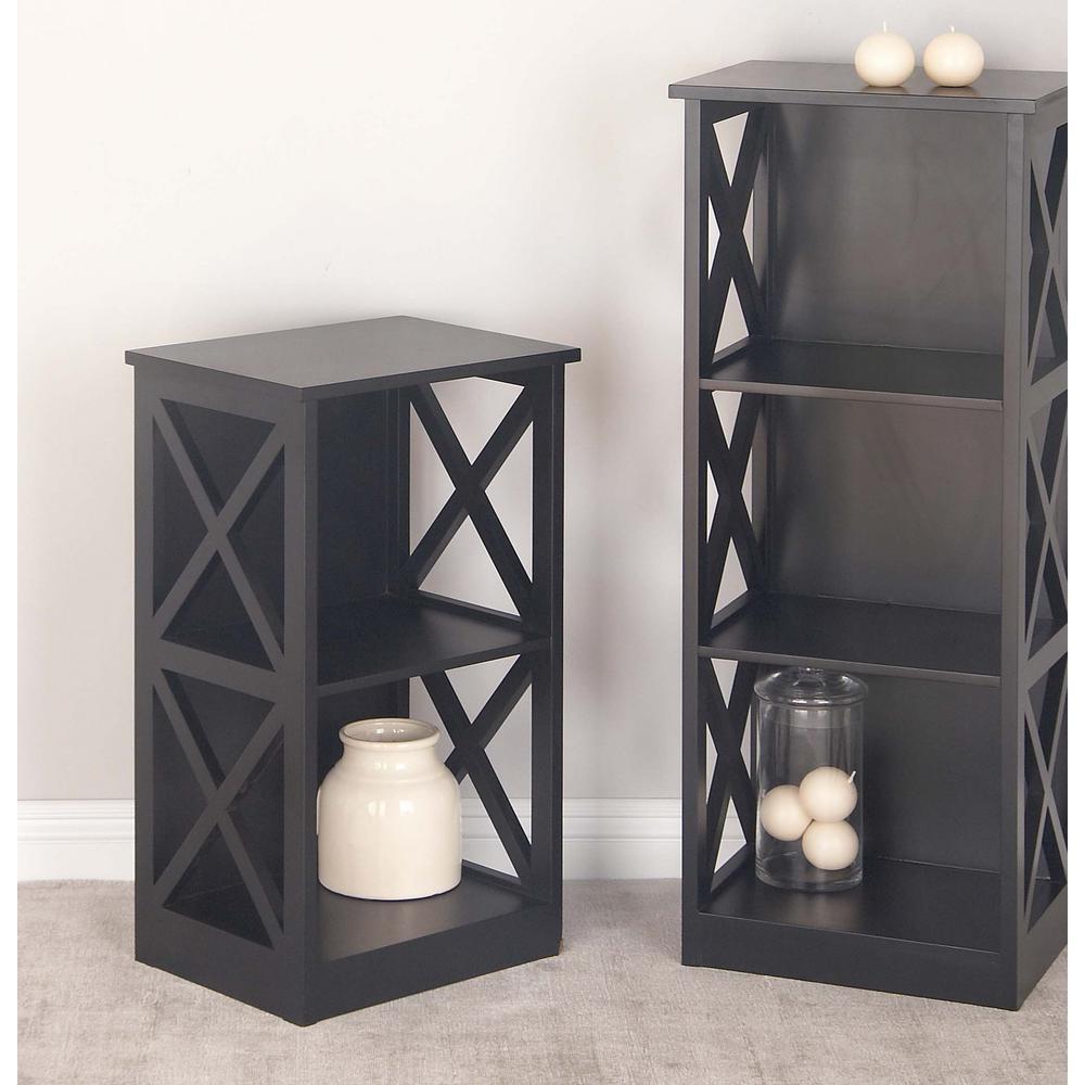 28 in. x 16 in. Modern 2-Tier Cube Shelving Unit in Black
