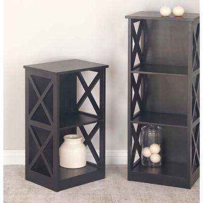 28 in. x 16 in. Modern 2-Tier Cube Shelving Unit in Black