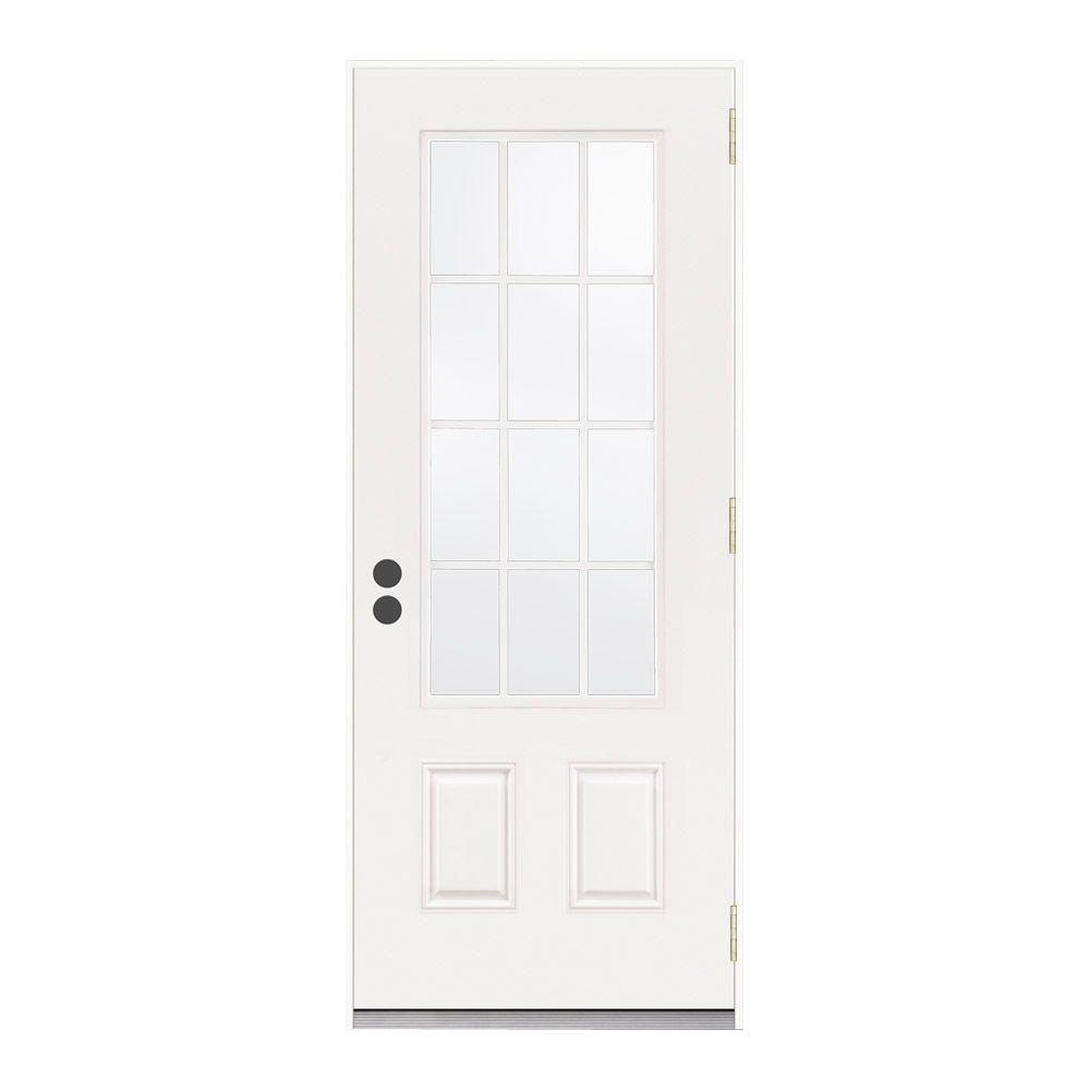 JELD-WEN 36 in. x 80 in. 12 Lite Primed Steel Prehung Left-Hand Inswing Front Door