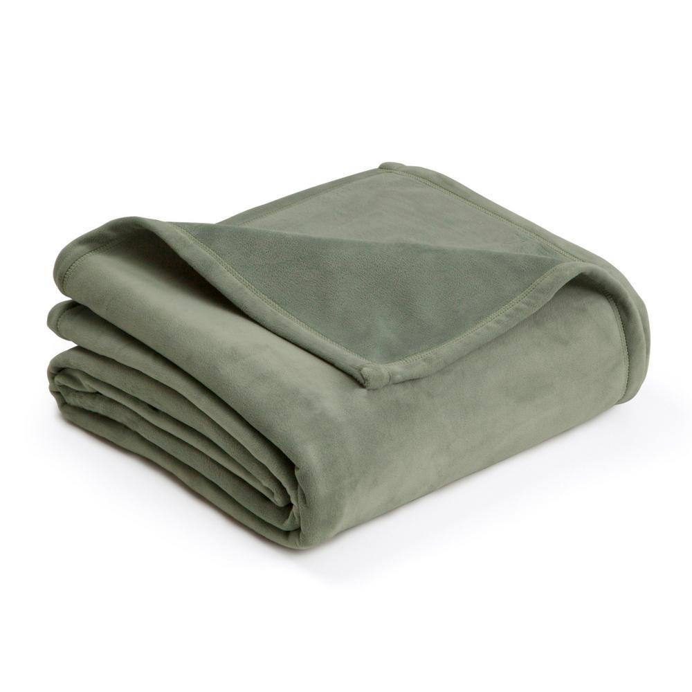 Plush Sage Polyester Twin Blanket