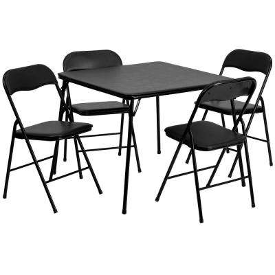 33.5 in. Black Plastic Table top Material Folding Card Tables