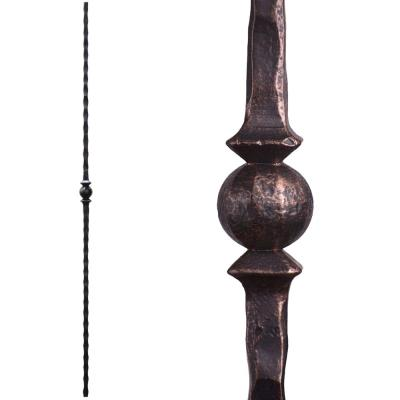 Tuscan Square Hammered 44 in. x 0.5625 in. Oil Rubbed Bronze Single Sphere Solid Wrought Iron Baluster