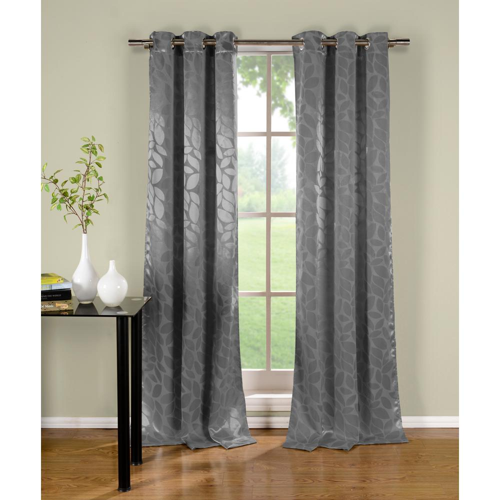 DUCK RIVER TEXTILE Floral Grey Polyester Blackout Grommet Window Curtain 38 in. W x 96 in. L (2-Pack)