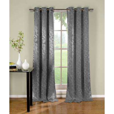Floral Grey Polyester Blackout Grommet Window Curtain 38 in. W x 96 in. L (2-Pack)