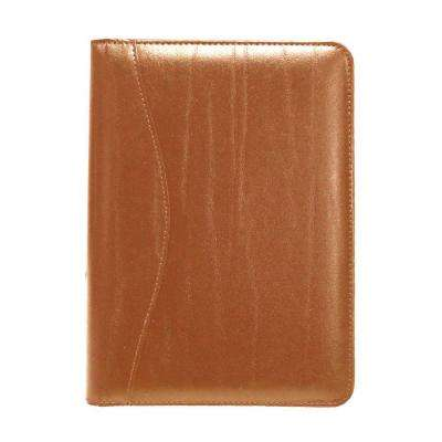 Bonded Leather Compact Writing Portfolio Organizer, Tan