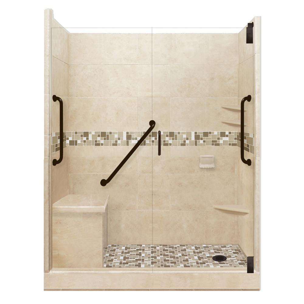 American Bath Factory Tuscany Freedom Grand Hinged 32 in. x 60 in. x 80 in. Right Drain Alcove Shower Kit in Brown Sugar and Old Bronze