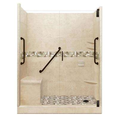 Tuscany Freedom Grand Hinged 34 in. x 60 in. x 80 in. Right Drain Alcove Shower Kit in Brown Sugar and Old Bronze