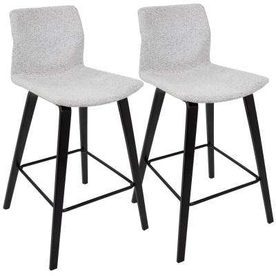 Cabo Mid-Century Modern Espresso and Light Grey Fabric Counter Stool (Set of 2)