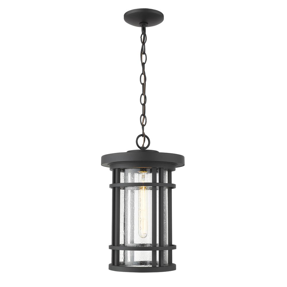 1-Light Black Outdoor Pendant Light with Clear Seedy Glass Shade