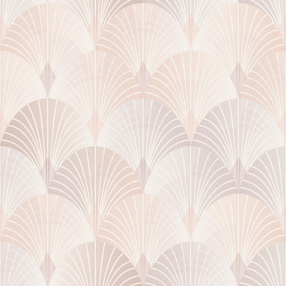 8 in. x 10 in. Pigalle Light Pink Fan Wallpaper Sample