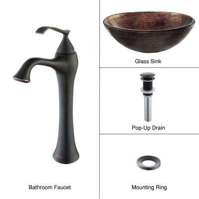 Illusion Glass Vessel Sink in Brown with Ventus Faucet in Oil Rubbed Bronze