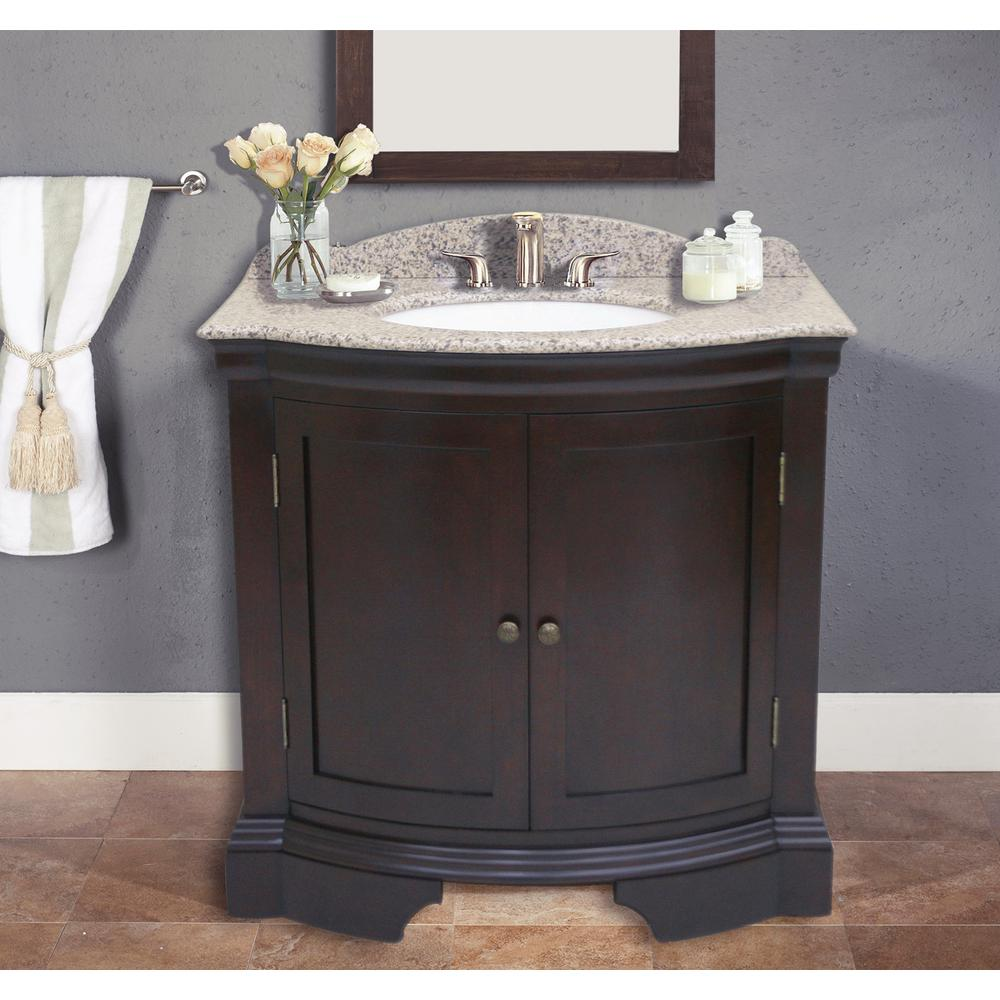 Cadhia 36 In Beige Granite Vanity Top With Single Basin In White And Backsplash Wf6830 36 The Home Depot