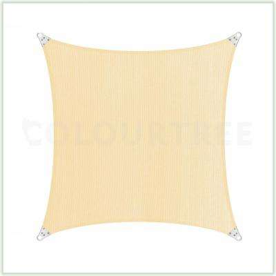 20 ft. x 20 ft. 260 GSM Reinforced (Super Ring) Beige Square Sun Shade Sail
