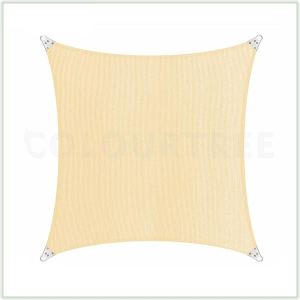 24 ft. x 24 ft. 260 GSM Reinforced (Super Ring) Beige Square Sun Shade Sail Screen Canopy, Patio and Pergola Cover