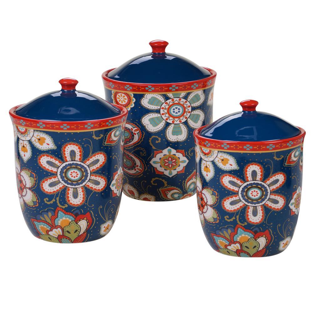 La Vida 3-Piece Country/Cottage Multi-Colored Ceramic 54, 72, 104 oz. Canister Set