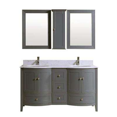 Bali 59 in. W x 22 in. D Vanity in Grey with Ocean white Quartz Vanity Top in White with White Basin