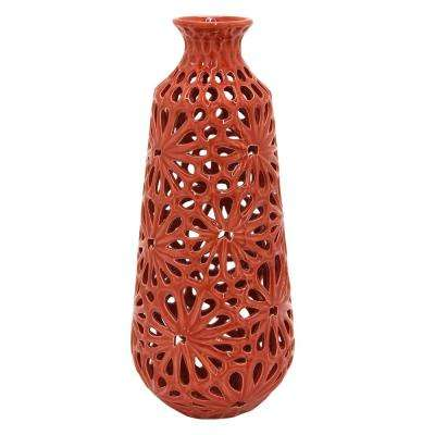 10 in. Decorative Red Ceramic Pierced Decorative Vase with Glossy