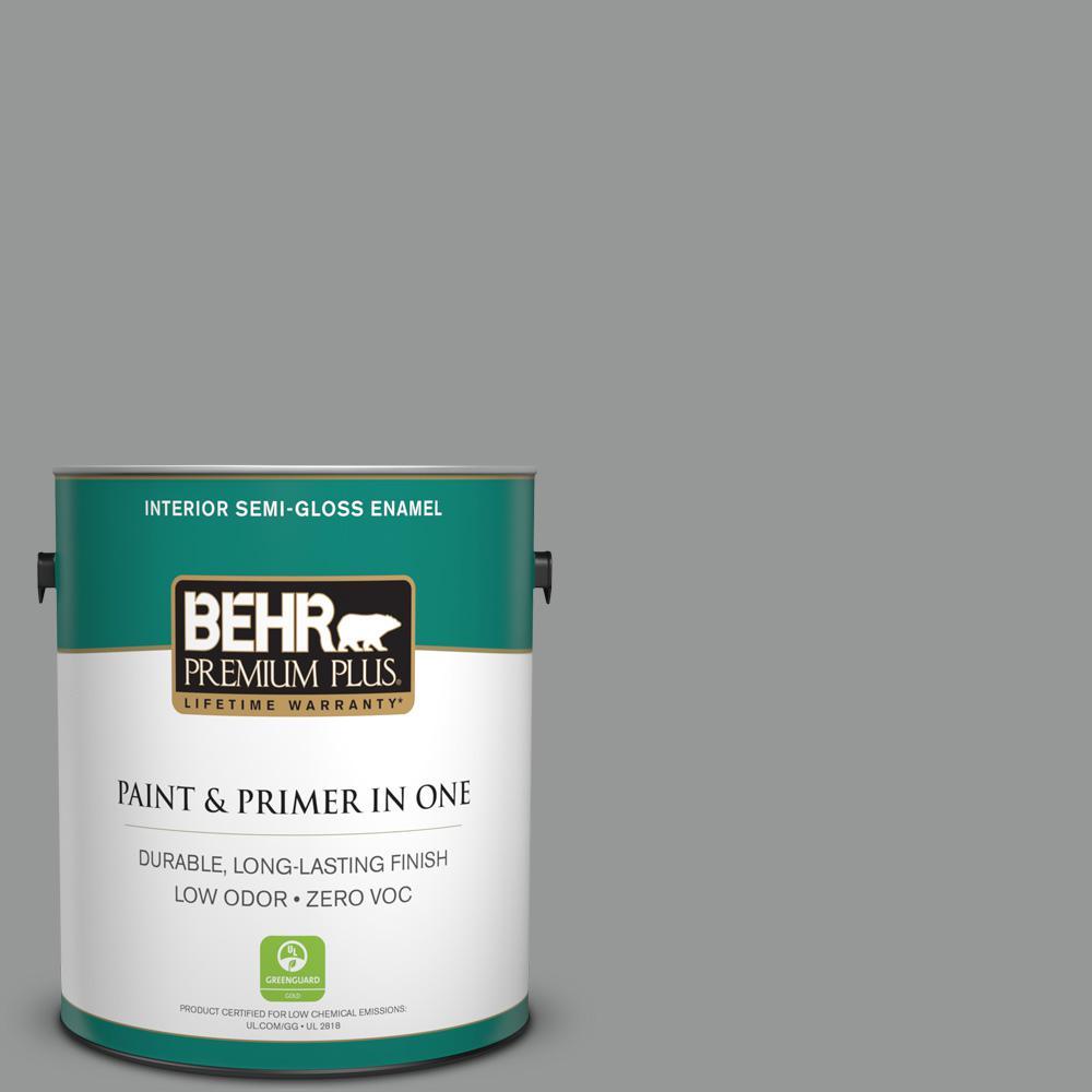 1 gal. #PPU24-19 Shark Fin Zero VOC Semi-Gloss Enamel Interior Paint