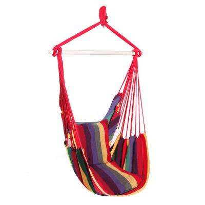 1.2 ft. Distinctive Cotton Canvas Hanging Rope Chair with Pillows Rainbow