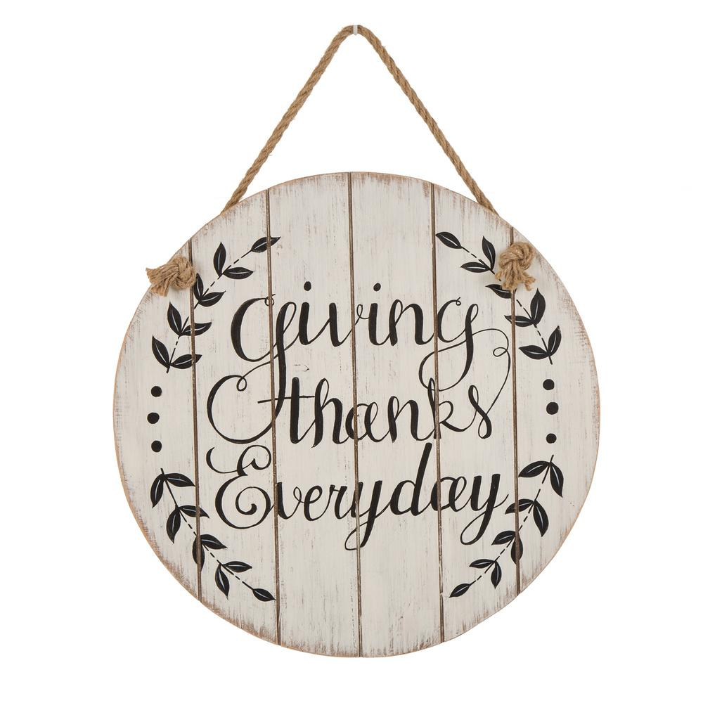 Glitzhome 15.00 in. Wooden Thanksgiving Wall Sign