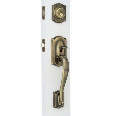 Camelot Antique Brass Double Cylinder Deadbolt With Right Handed Accent  Lever Door Handleset