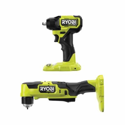 "RYOBI ONE+ HP 18V Brushless Cordless Compact 3/8"" Right Angle Drill and 3/8"" Impact Wrench (Tools Only)"