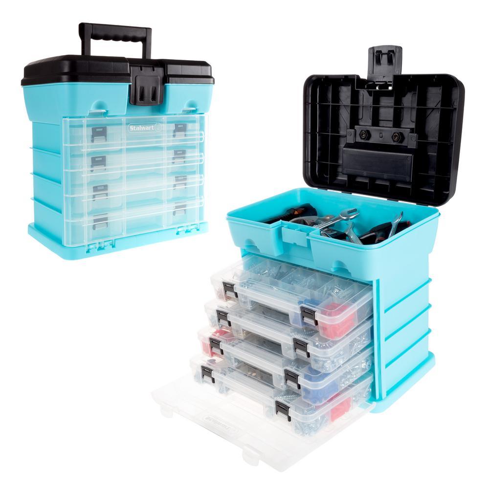 5-Compartment Small Parts Organizer, Light Blue