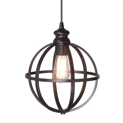 Instant Pendant 1-Light Recessed Light Conversion Kit Brushed Bronze Globe Cage Shade