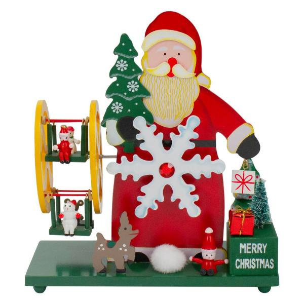 9.25 in. Wooden Santa Claus and Winter Wonderland Merry Christmas Musical Table Top Decoration