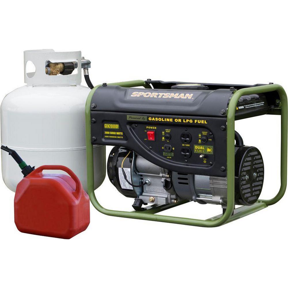 2,000/1,400-Watt Dual Fuel Powered Portable Generator Runs on LPG or Regular Gasoline