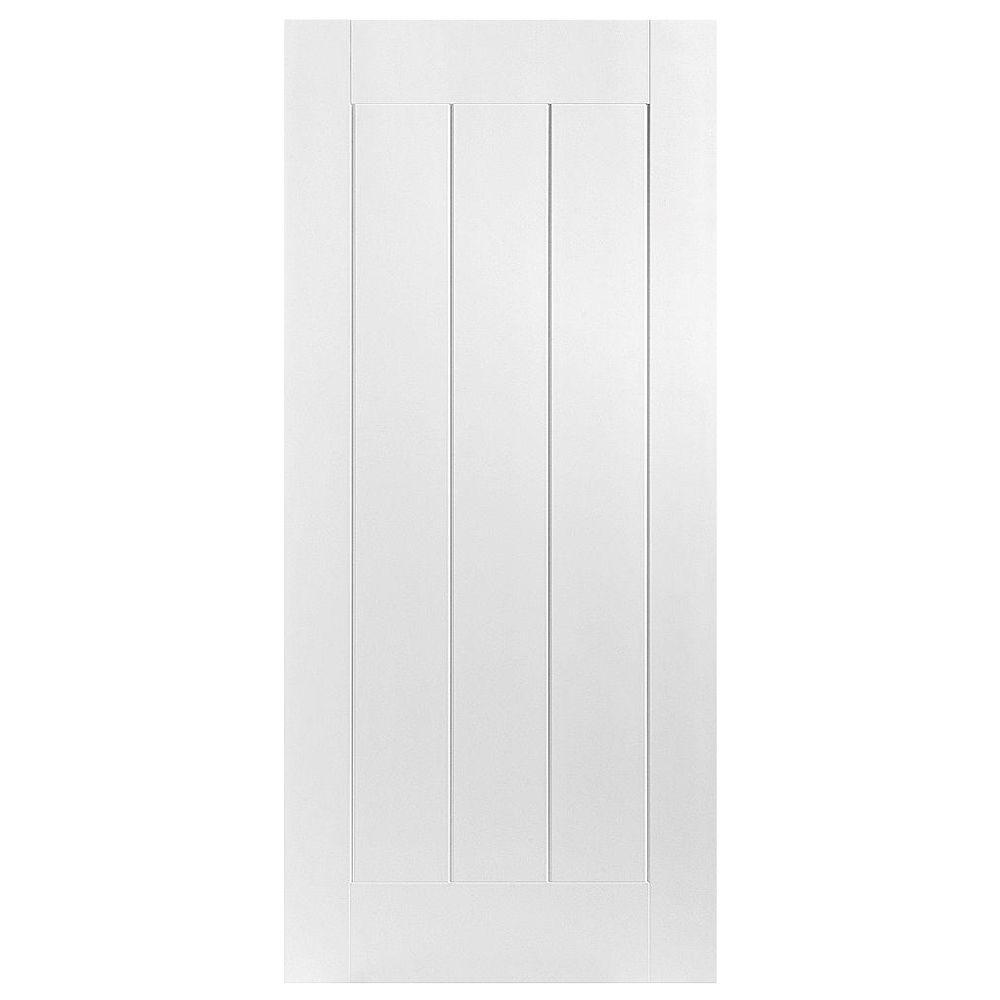 Masonite 36 in. x 80 in. Saddlebrook 1-Panel Plank Left-Handed Hollow-Core Smooth Primed Composite Single Prehung Interior Door