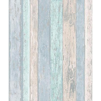 56.4 sq. ft. Cannon Blue Distressed Wood Wallpaper