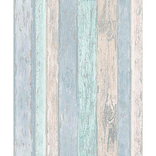 Coloroll 56.4 sq. ft. Cannon Blue Distressed Wood Wallpaper