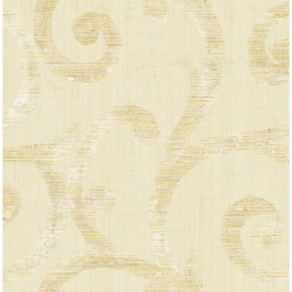 Eaglecrest Metallic Gold & Cream Scroll Wallpaper