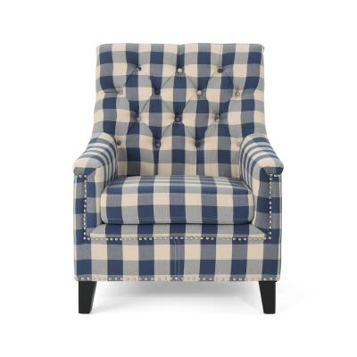 Jaclyn Tufted Blue Checkerboard Fabric Club Chair with Stud Accents