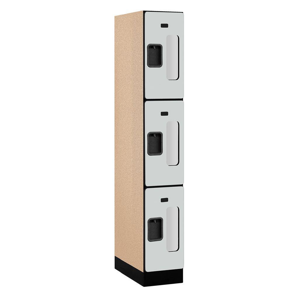 S-33000 Series 12 in. W x 76 in. H x 21 in. D 3-Tier See-Through Designer Wood Locker in Gray