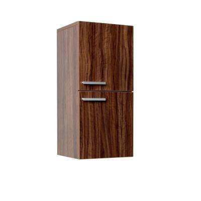12 in. W x 27-1/2 in. H x 12 in. D Bathroom Linen Storage Cabinet in Walnut