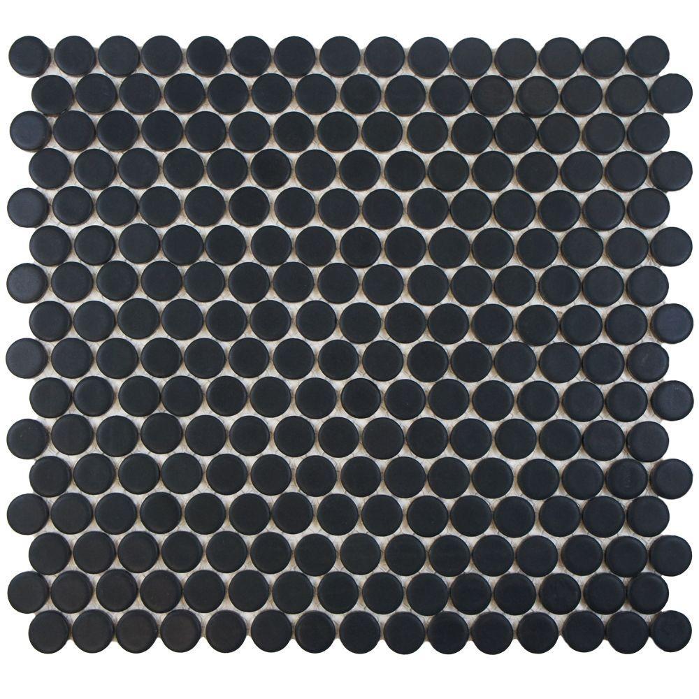 Hudson Penny Round Matte Black 12 in. x 12-5/8 in. x 5 mm Porcelain Mosaic Tile (10.2 sq. ft. / case)