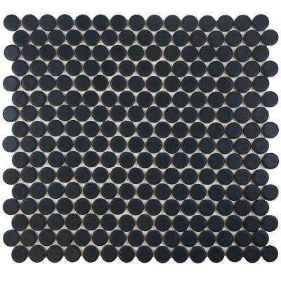 Hudson Penny Round Matte Black 12 in. x 12-5/8 in. x 5 mm Porcelain Mosaic Tile (10.2 sq. ft. / case)