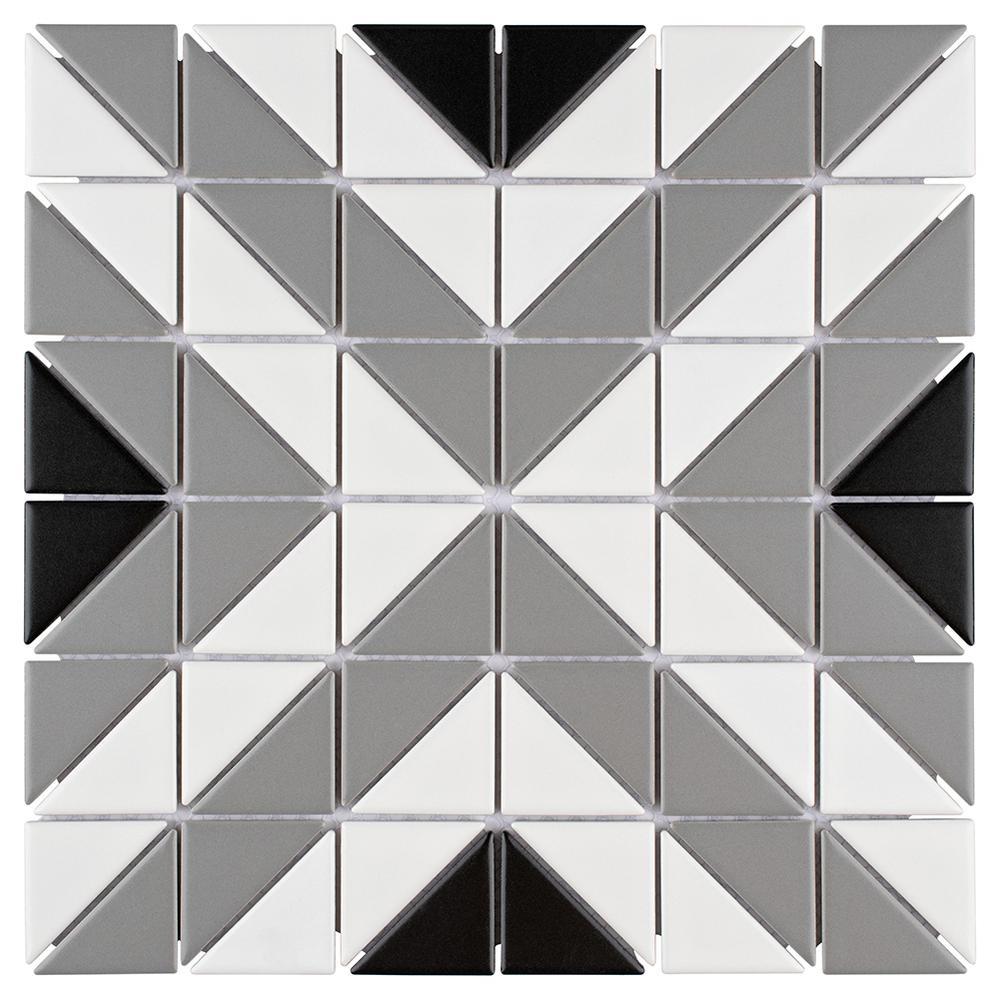 Merola Tile Tre Apex Classic Mix 10-3/4 in. x 10-3/4 in. x 6 mm Porcelain Mosaic Tile (8.21 sq. ft. / case)
