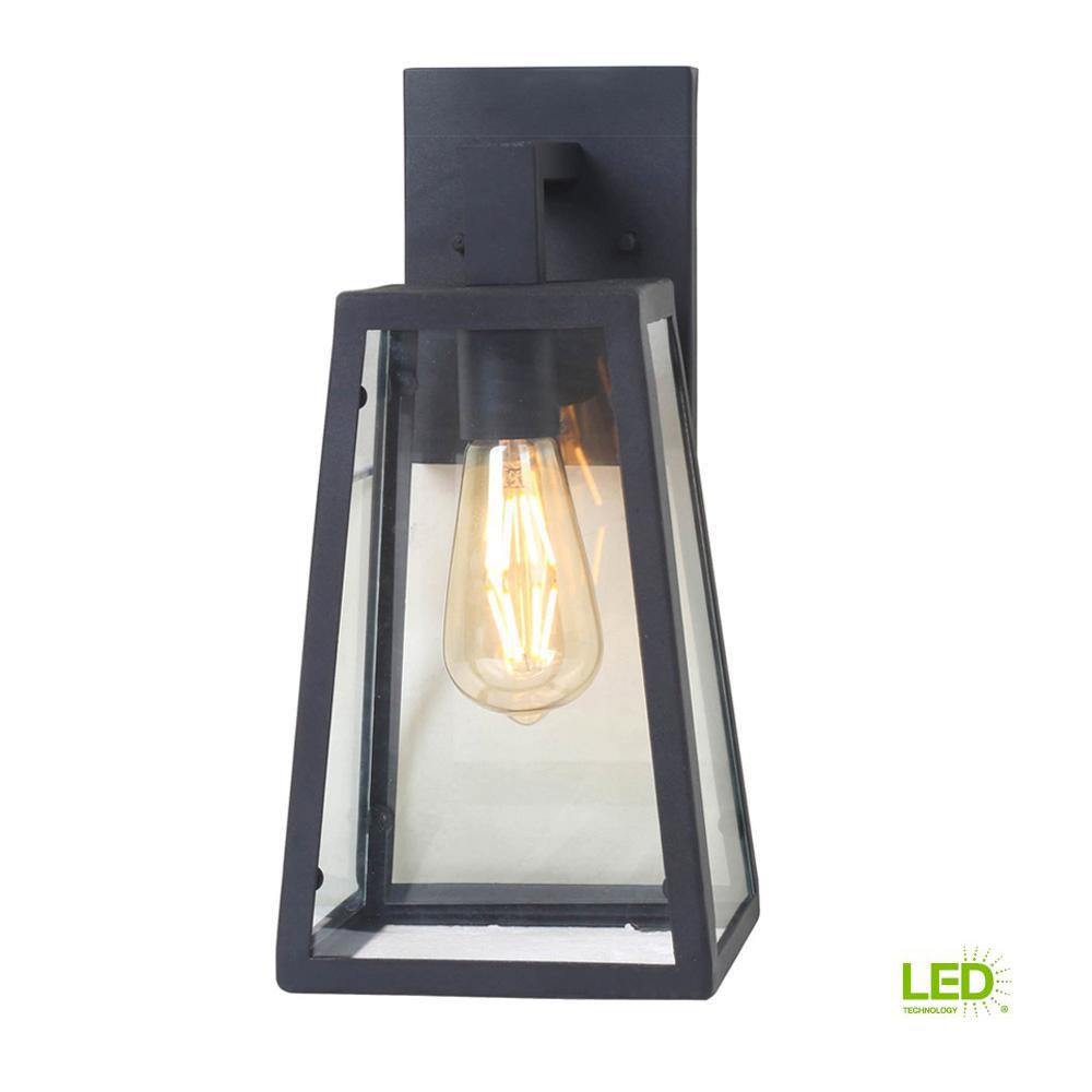 1-Light Sand Black Large Outdoor Wall Mount Sconce with Clear Glass