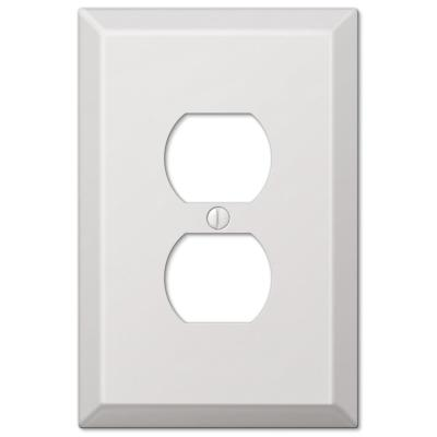 Oversized 1 Gang Duplex Steel Wall Plate - White