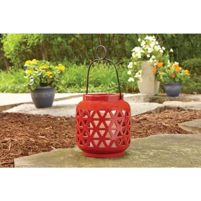 6.5 in. Ceramic Outdoor Patio Lantern in Chili Red